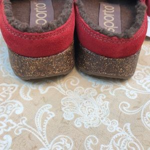 Sporto Shoes - Sporto Mary Red Leather Mules Clogs